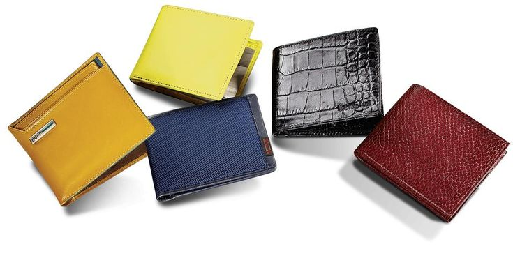 From left: Dopp Convertible Thinfold Wallet, $59, buxton.co; Leather and Stainless Steel Billfold Wallet, $72,...