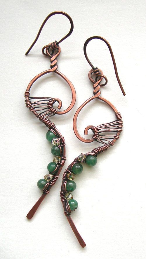 Whimsical earrings - wire wrapped earrings - copper earrings - boho chic earrings - indie earrings - indie jewelry