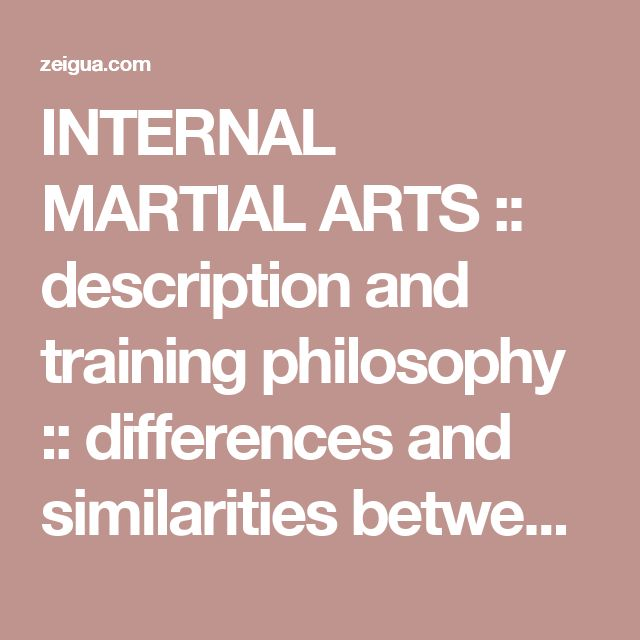"""INTERNAL MARTIAL ARTS :: description and training philosophy :: differences and similarities between """"Internal"""" and """"External"""" training methods"""