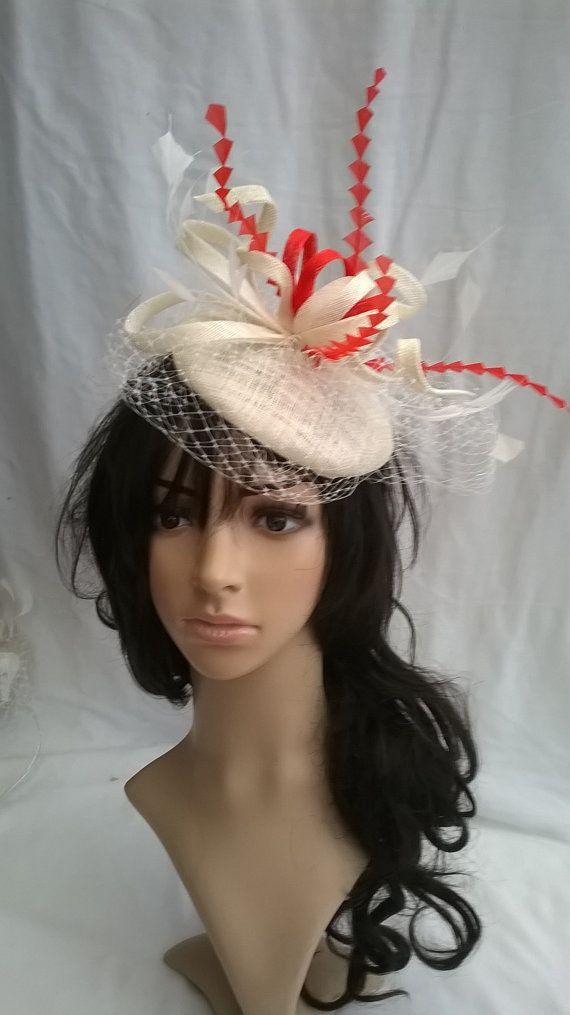 Ivory & Red pillbox Fascinator with net veil..on a headband .