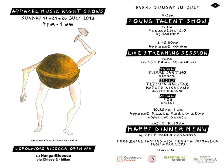 SUNDAY 14 JULY APPAREL MUSIC NIGHT SHOW 7pm - 1am Dopolavoro Bicocca c/o HangarBicocca, Milano