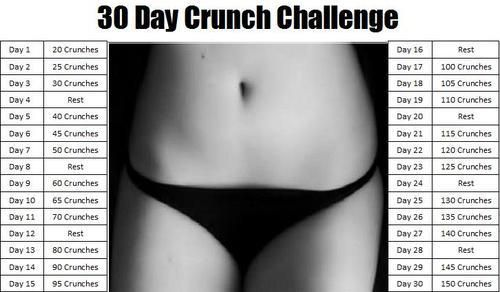 Attached to this is the squat challenge I've been doing for almost 3 weeks now... Once the 30 days is up, I plan to add this crunch challenge and start the squats all over again! :)