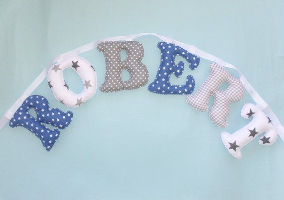 BLUE  GRAY COLOR pattern name banner Fabric by LittleFairyCottage