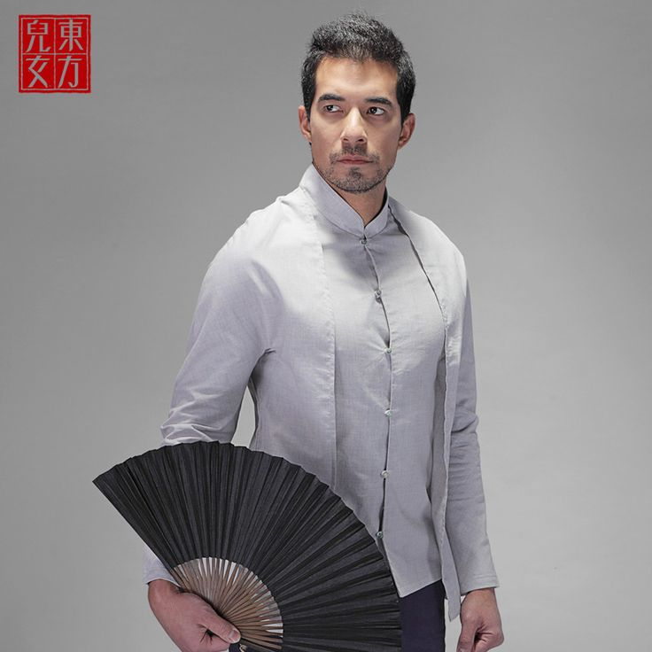 Handsome Frog Button Oriental Style Shirt - Gray - Chinese Shirts & Blouses - Men