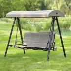 Hampton Bay Statesville 3-Person Padded Sling Outdoor Swing with Canopy