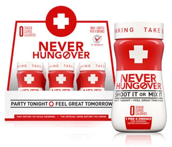 Never Hungover Dietary Supplement 2 fl oz (Pack of 12) MexGrocer.com/NeverHungover