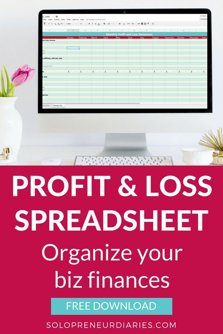 Small Business Tips | As an entrepreneur there is always something that needs to be done and it's easy to put off finances for another day. Organize your finances with this free Profit & Loss spreadsheet. | Small Business Bookkeeping #smallbusinesstips #FinanceExcel