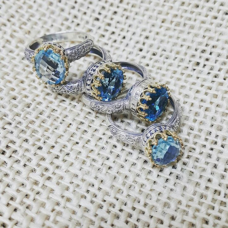 Gerochristo jewelry princess collection gold 18k Sterling Silver  and blue topaz