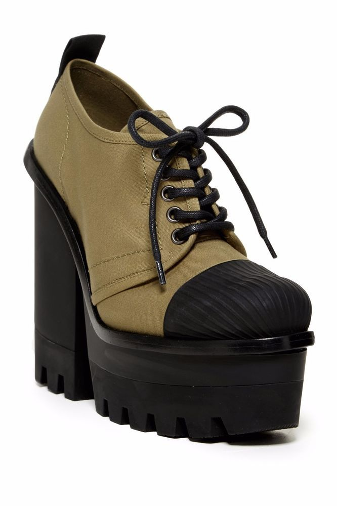 $495 RaRe HUNTER SALE Original Canvas Platform Heel Shoes Rubber Rain Olive 6  | eBay