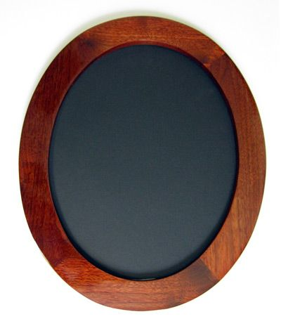 Oval Picture Frames made of Walnut, Stained Red shown with our Wide Gallery Profile