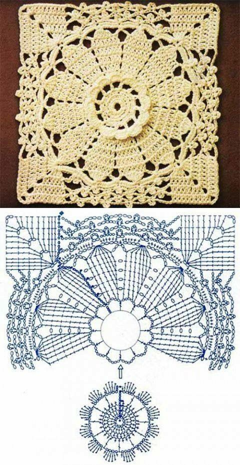 crochet flower square motif