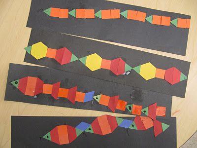 Pattern block snakes: Kindergarten Times, Kindergarten Math, Snakes Patterns, Blocks Snakes, Patterns Snakes, Activité Mathématiqu, Patterns Blocks Kindergarten, Kc Kindergarten, Kindergarten Center