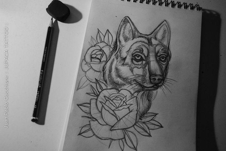 Juan Pablo Cacchione :: jupaca tattoo :: boceto tatuaje lobo tradi rosas