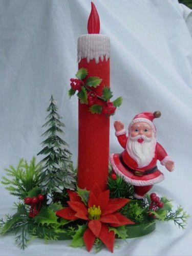 Vintage Old 1960s Retro Soft Plastic Christmas Santa w Candle Table Decoration   eBay