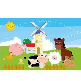Animal Wall Mural- Farm Animals & Windmill