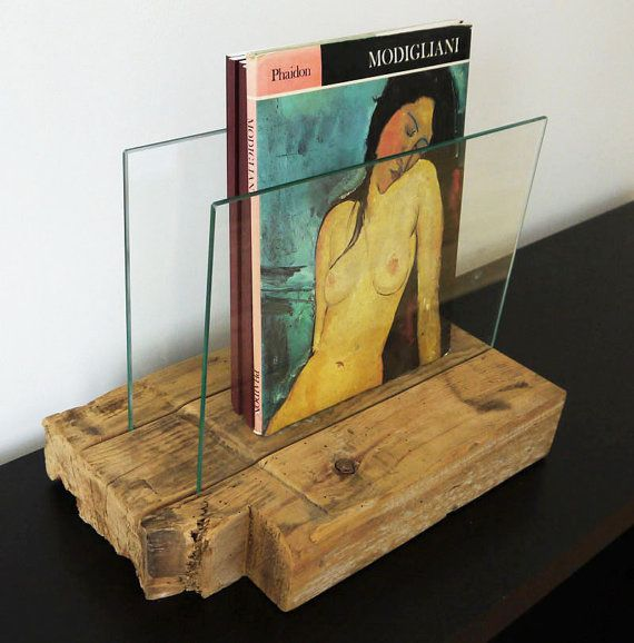 Modern Rustic Magazine Holder. Reclaimed Wood and by TicinoDesign