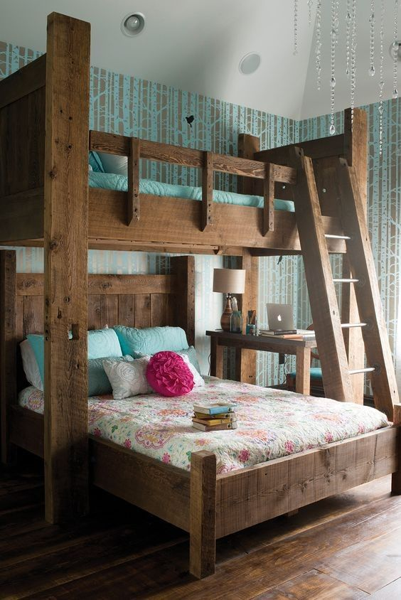 Perpendicular twin over queen - Rustic Barnwood