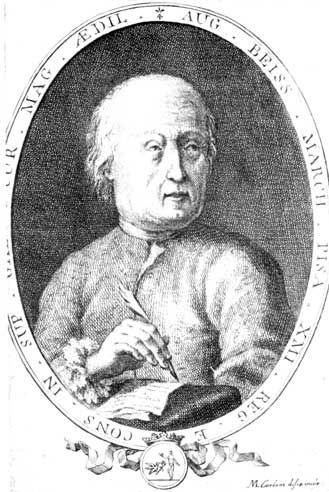 Portrait du Marquis de Bessar, auteur d'un livre rarissime: «Recueil, fragments académiques, téologiques, juridiques, moraux, politiques,tragicomiques,échapés à l'indifférence de l'auteur, moins naturelle que celle du public par un antique jentilome ami de l'umanité...»