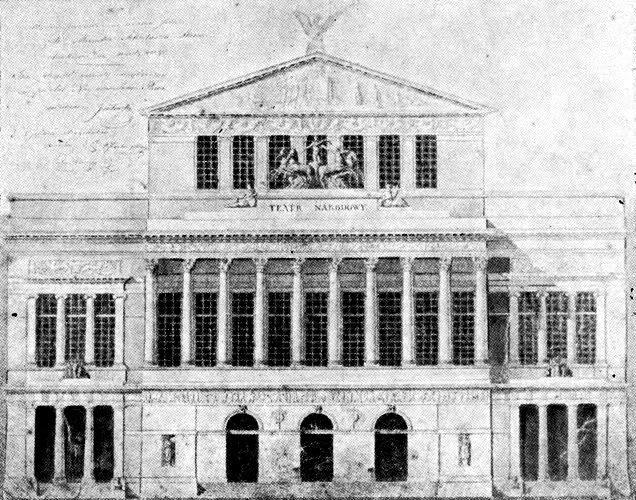 Teatr Wielki w Warszawie, projekt z 1827 roku, Antonio Corazzi