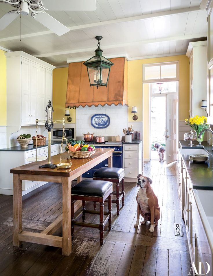 Smoochie, a boxer, and Monty, a Lagotto Romagnolo, pause in the kitchen; the table is from Ann-Morris.