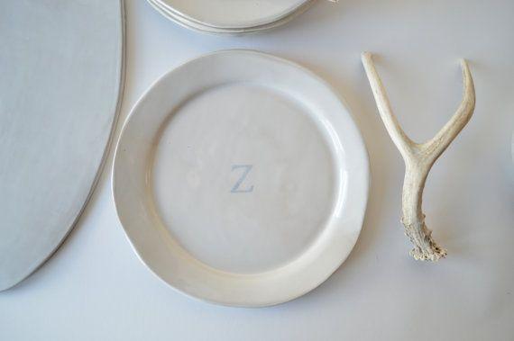 Monogrammed Plate Handmade Personalized Plate Personalized Dinnerware & 26 best Handmade Tableware images on Pinterest | Dinnerware ...