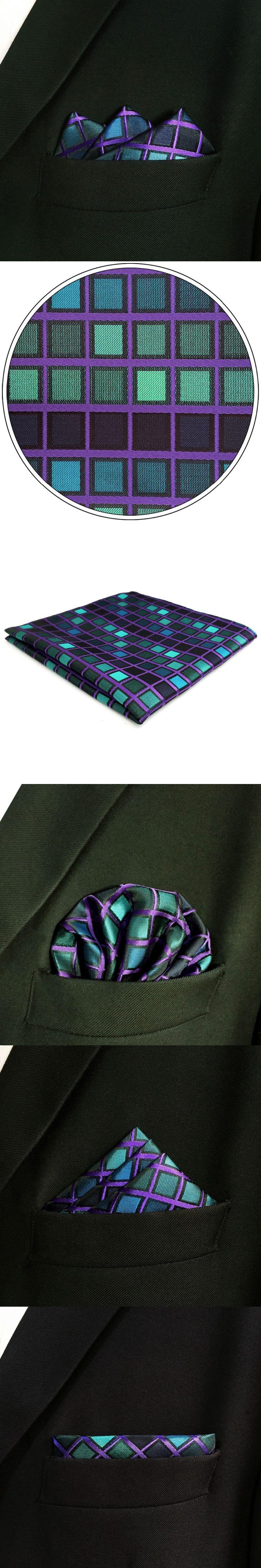 DH10 Multicolor Checkes Mens Pocket Square Silk Novelty Wedding Handkerchief Classic Fashion Hanky