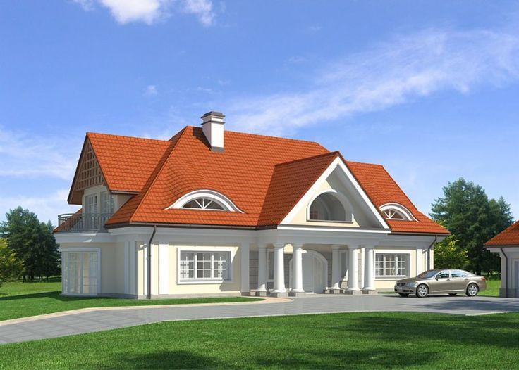 LK&753 to projekt domu jednorodzinnego, parterowego, z poddaszem użytkowym i podpiwniczeniem, przeznaczony dla 5-6 osobowej rodziny. Dom utrzymany w stylu dworku, zawiera wielki, półokrągły balkon, z którego można podziwiać rozległy krajobraz.