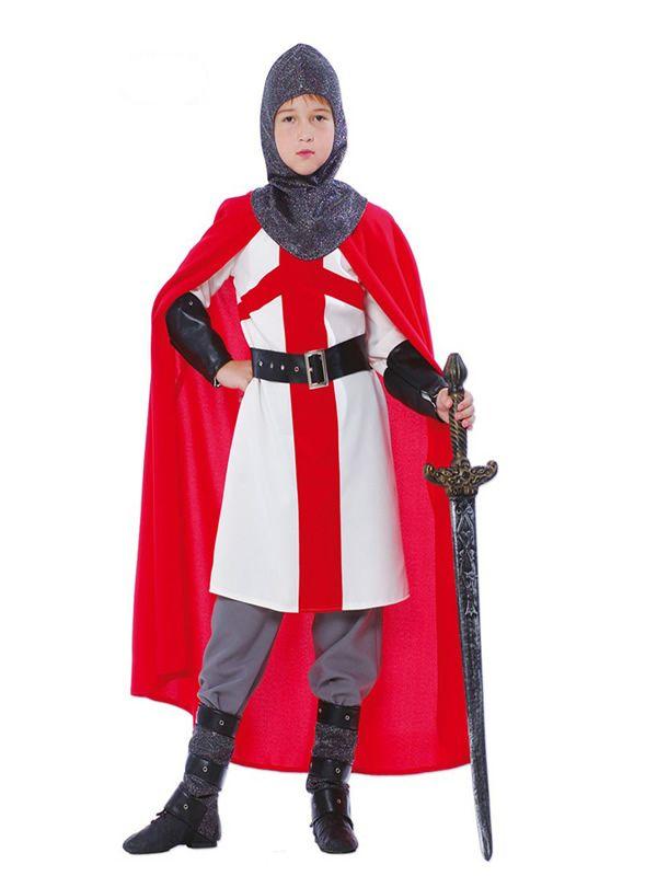 El disfraz de guerrero cruzado para niño, incluye Capucha, capa, túnica, cinturón y botas. en DisfracesMimo.com
