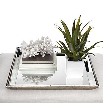 A chic foundation for a vanity or coffee table. Pascual Mirrored Tray, $79.95 #ZGallerie