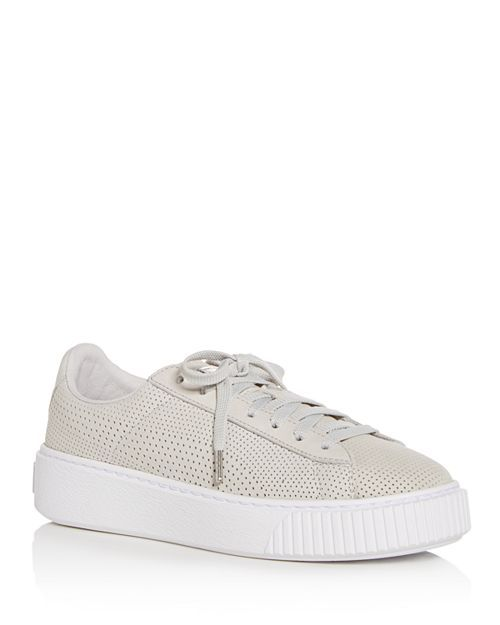 e07efc840172 PUMA - Women s Basket Perforated Nubuck Leather Lace Up Platform Sneakers