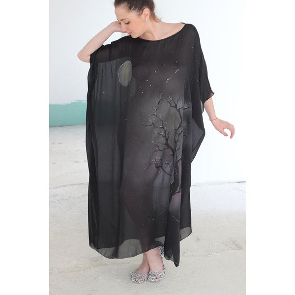 Made to Order Hand-Painted Chiffon Caftan Metamorphosis It May Be Worn... ($99) ❤ liked on Polyvore featuring dresses, grey, women's clothing, beach kaftan, long caftan, long beach kaftan, long kaftan and chiffon kaftan