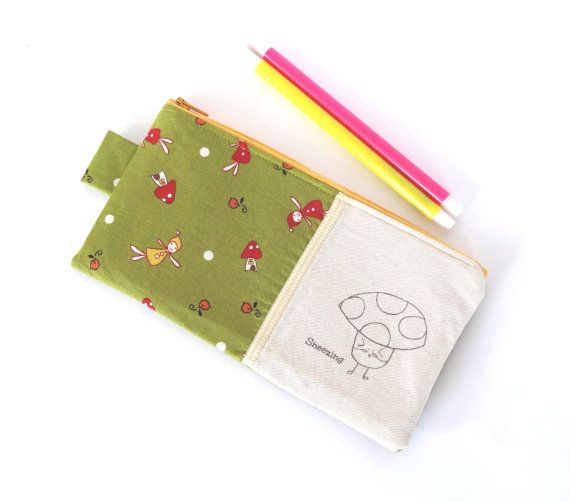 Mushroom Boy (Sneezing) Pencil Case // Stationery Zipper Pouch