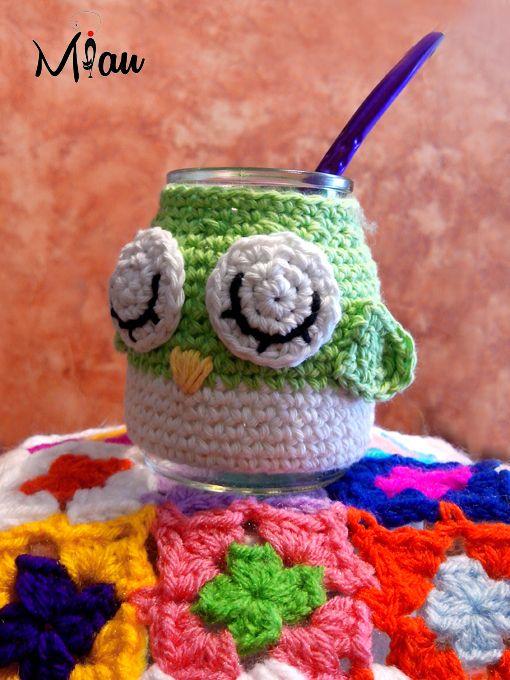 Mates simpaticos. #matetejidos, #crochet, #buhos, #miau. Consultas: anaramirez131@gmail.com