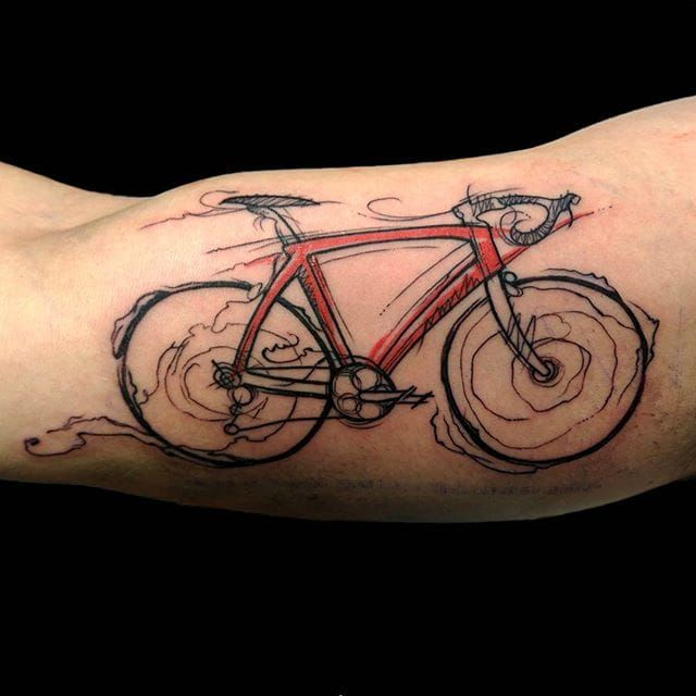 Bike tattoo by barbas82 on Instagram. bike fixie biker cyclist biking sport semiabstract