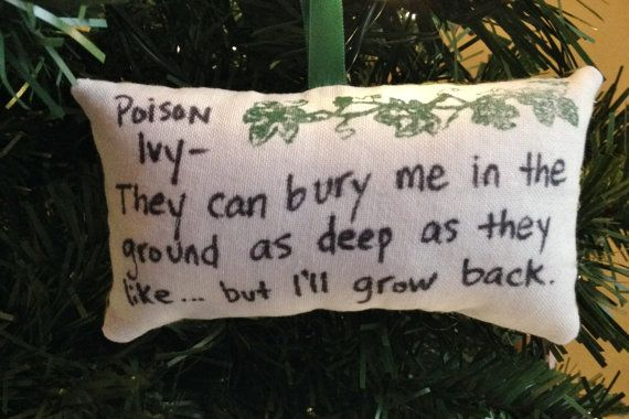 This Poison Ivy Ill Grow Back pillow Christmas tree ornament features the full quote on a pillow ornament made of off-white fabric on the