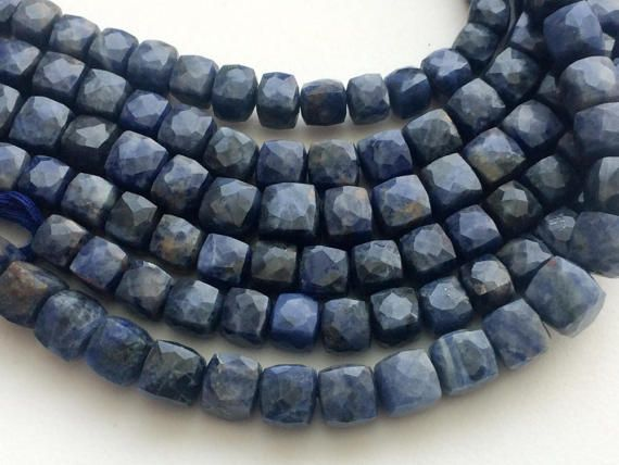 Sodalite Cube Beads Natural Sodalite Faceted Box by gemsforjewels
