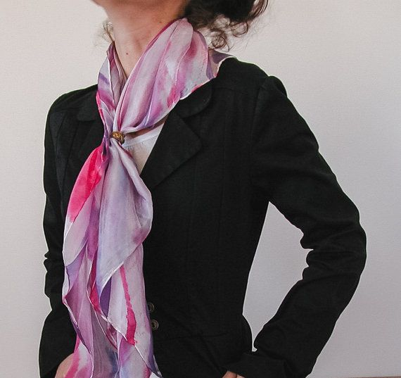 Hand Painted silk shawl | hand painted silk scarf | pink and white scarf | chic silk scarf | chic fashion accessory | elegant accessory | square silk scarf |