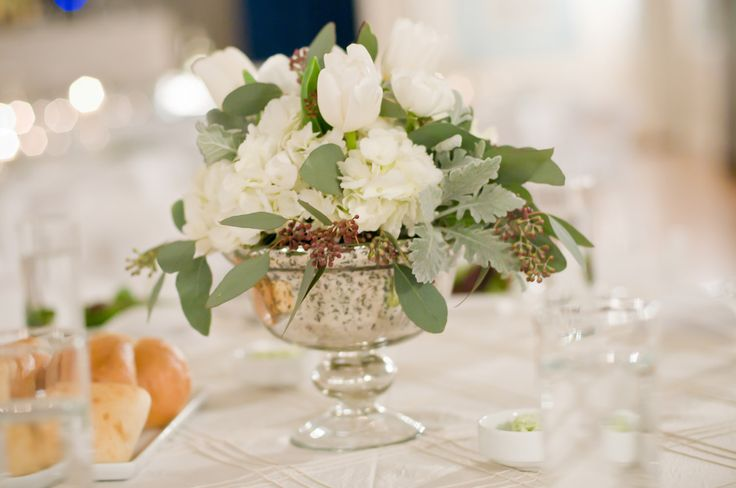 Mercury glass footed bowls and vases for centerpieces