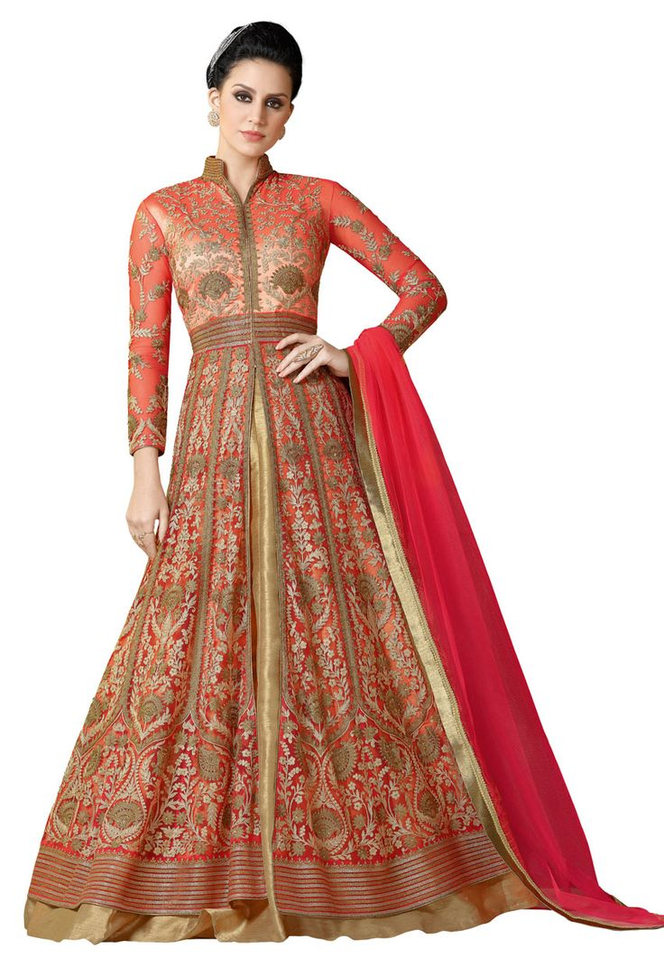 Orange Net Achkan Style Partywear Salwar Suit #stylish #stylishsuit #stylishindiansuit #stylishsalwarkameez #salwarsuitonline #onlinesalwarkameez #dress #onlineindiandress #sale#nikvik #freeshipping #usa #australia #canada #newzeland #Uk #UAE