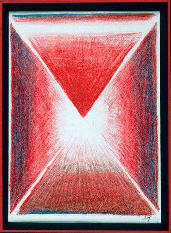 Stefan Gierowski: Bez tytułu, kredka, papier, 19 x 15 cm;