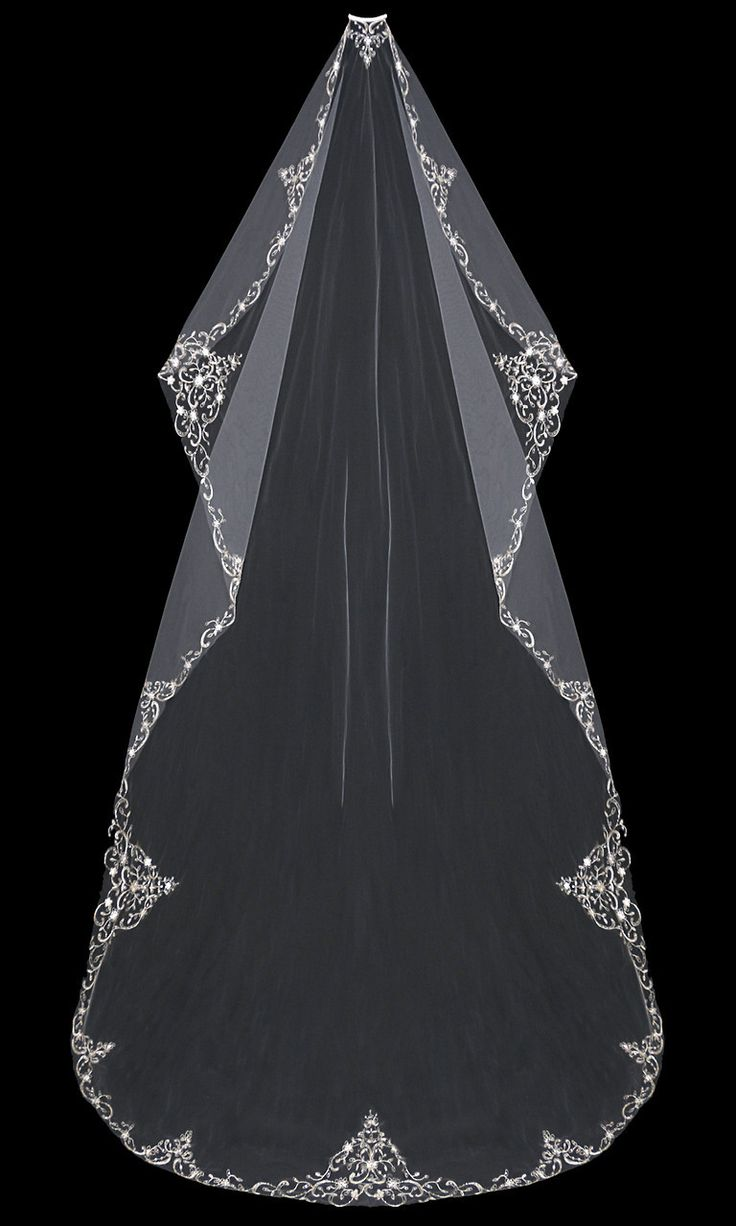 Cathedral Mantilla Wedding Veil With Beaded Silver Embroidery