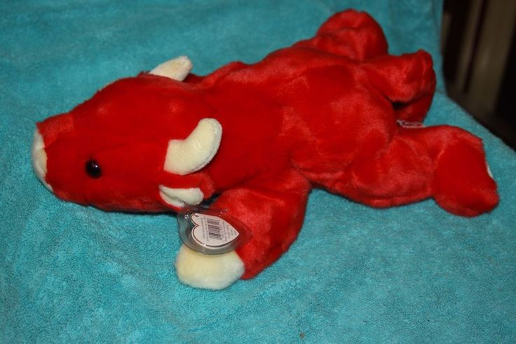 "TY BEANIE BUDDIES 15"" 1998 SNORT the Red Bull Babies Buddy Large #TY #BeanieBaby"