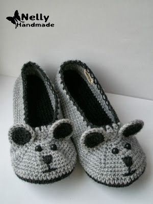 Nelly Handmade: Mice slippers