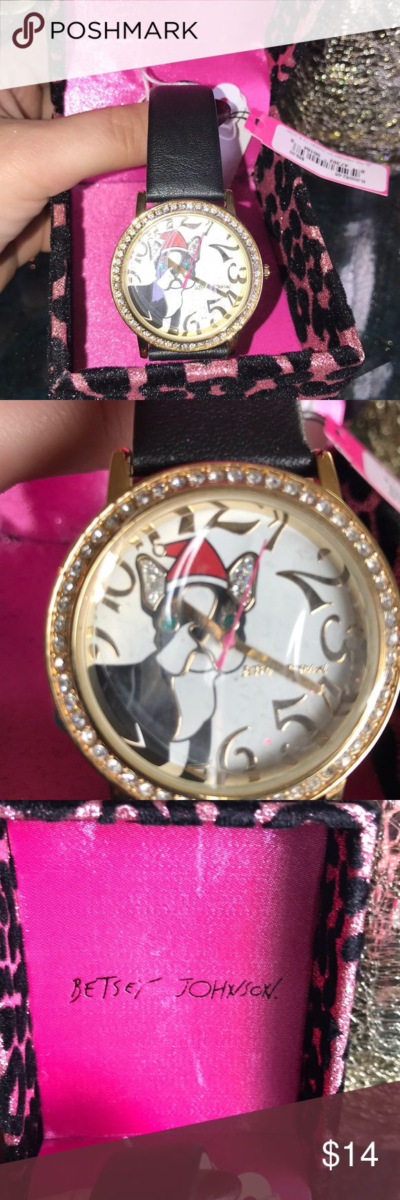 Betsey Johnson frenchy Christmas watch New Betsey Johnson new French bulldog Christmas watch.. NOTE IT DOES NEED NEW BATTERY Betsey Johnson Jewelry