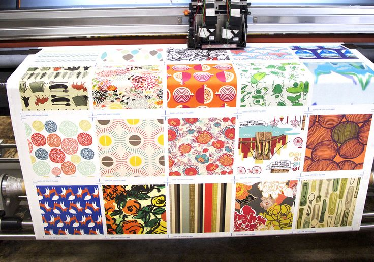 Spoonflower !  Create a design, choose your product.... fabric, wallpaper of gift wrap... and order it!