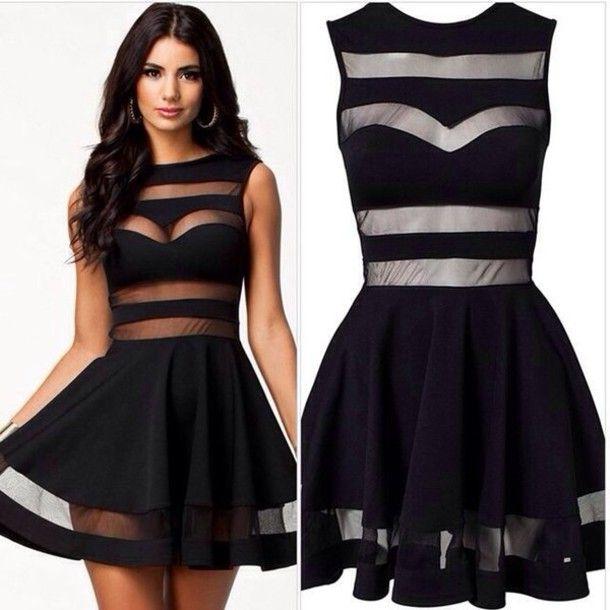 dress black sheer ebony lace ebonylace-streetfashion Bqueen ustrendy little black  dress see through mesh  19c366221