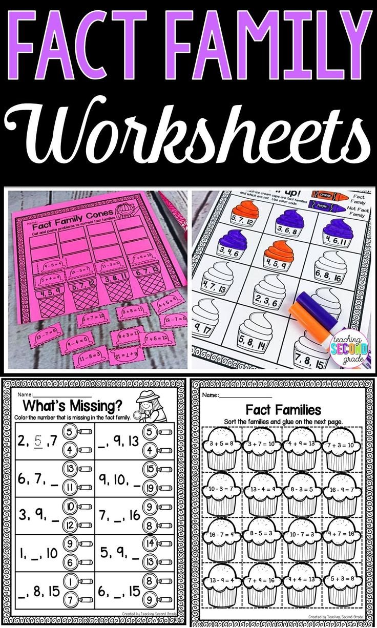 If you're working on fact families with your 1st, 2nd, or 3rd grade classroom or home school students, you NEED this resource! You get 45 pages of addition and subtraction fact family printable worksheets to use for review, math centers or stations, early or fast finishers, homework, morning work, seat work, and more. Click through to see all the details! {first, second, third graders, mathematics, arithmetic}#factfamilies