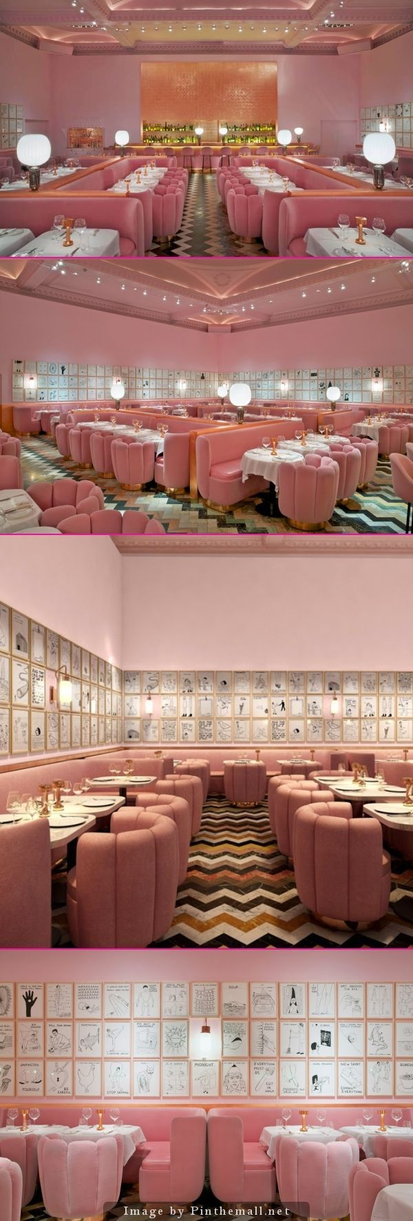 2014 - New London restaurant, Gallery at Sketch, with interiors by India Mahdavi and art by Scottish artist David Shrigley. Loving those zig-zag floors...and actually the combination of pink and brass is not too shabby either. Whould've thought!