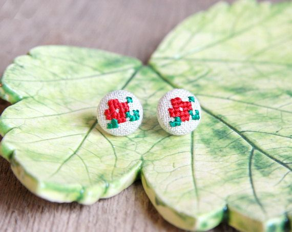 Hey, I found this really awesome Etsy listing at https://www.etsy.com/listing/170443031/button-stud-earrings-cross-stitch