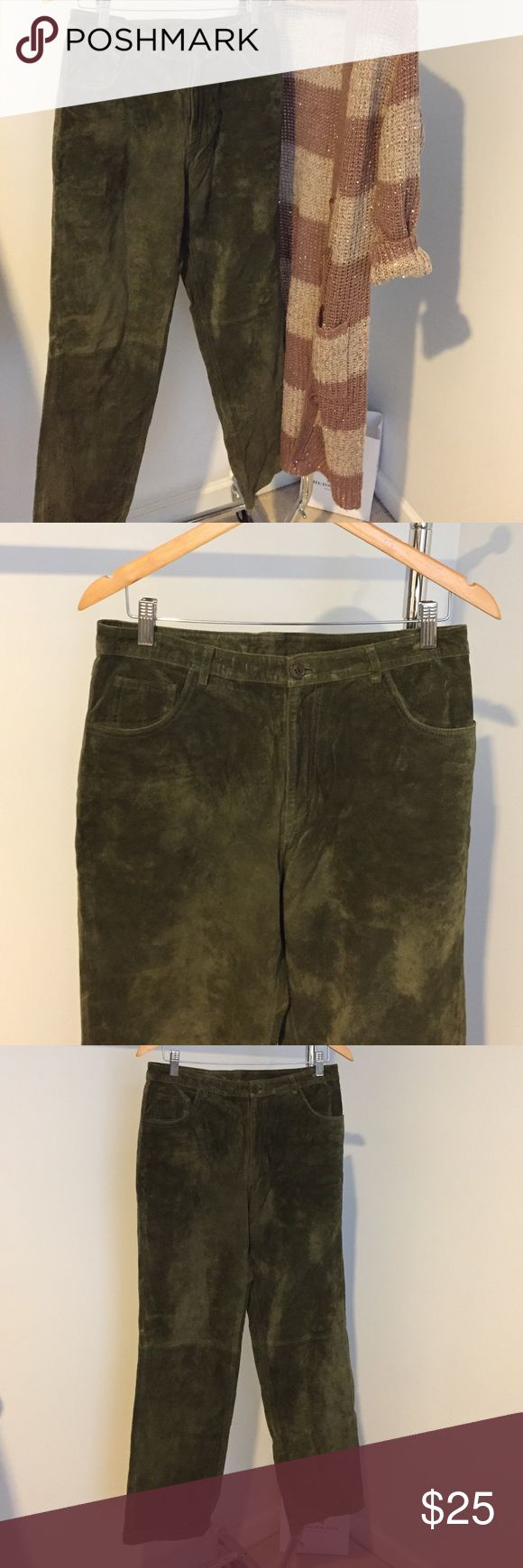 """100% Leather/Suede Cute Forest Green Pants These pants are leather that feels like suede. This color is on trend for this Winter. Pair this with this duster sweater that is for sale in my closet.  Inseam 31"""". Two pockets in. Ack and two in front. Pants Straight Leg"""